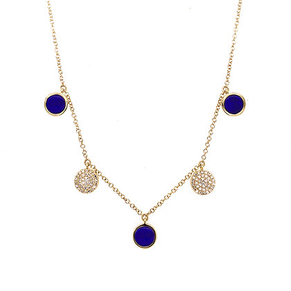 14KY Lapis Station Necklace Set w/ Diamonds