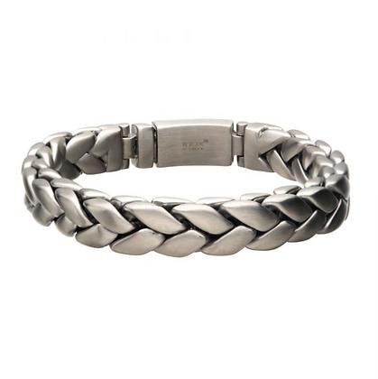 Matte Stainless Steel Double Spiga Chain Bracelet