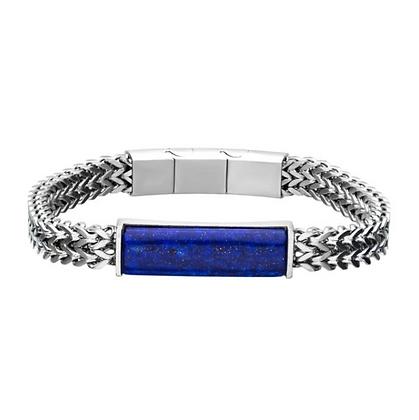 Stainless Steel Double Franco Chain w/ Lapis Stone Bracelet