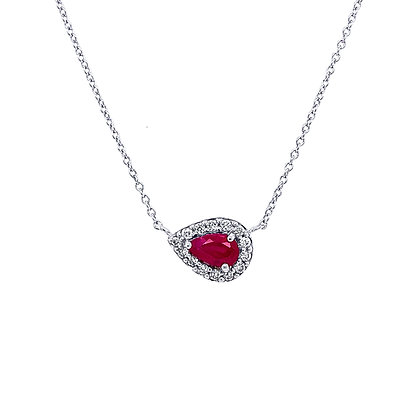 14KW Ruby Necklace Set w/ Diamonds