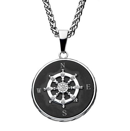 Stainless Steel Black Plated Ship's Wheel Compass Necklace