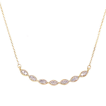 14KY Diamond Marquise Bar Necklace