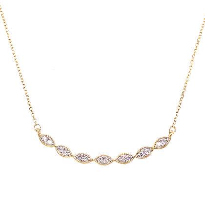 14KY Diamond Marquise Bar Necklace