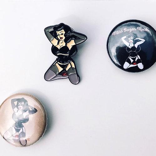 Miss Sugar Rush Enamel Pin + 2 Badges Combo