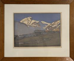 Weisshorn mit Heidenalp, Holzschnitt, M. Rollé