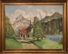 Eiger, Mönch und Jungfrau mit Kapelle, Oel (Burkhart Mangold, monogr. B.M.)