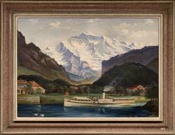 Die Jungfrau mit Raddampfer bei Interlaken, (M. Meyer?)