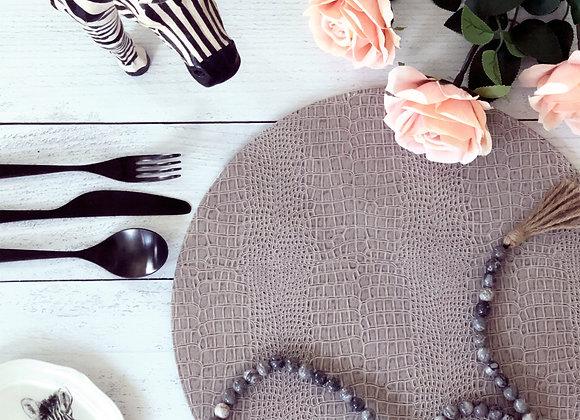 "32.5"" Marble Decorative Beads with Burlap Tassel  - Grey"