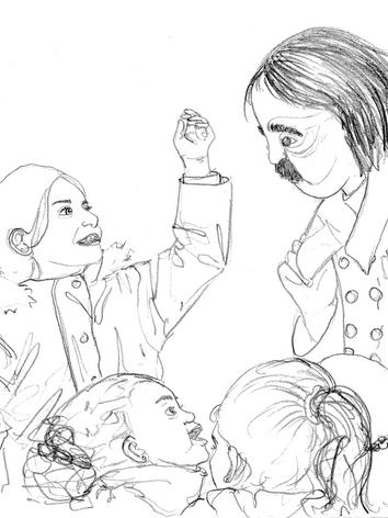 Croquis de la rencontre d'Edgar et d'une petite fille