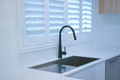 open-bifold-plantation-shutters-modern-kitchen-open-plantation-shutters-black-kitchen-sink