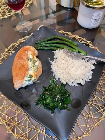 Stuffed chicken, garlic spinach, rice
