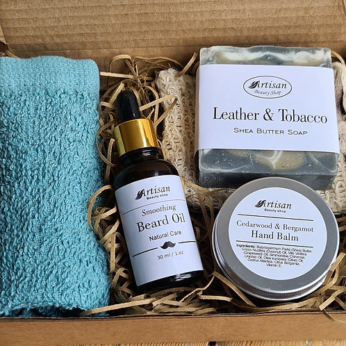Men Pamper Gift Box with Beard Oil Hand Cream And Soap Bar