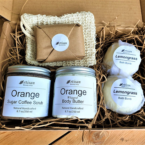 Coffee Orange Body Scrub Whipped Body Butter Soap Bath Bomb Gift Box