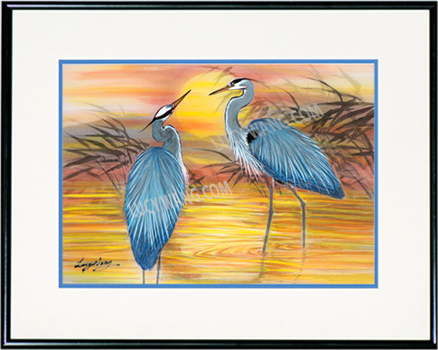 Herons in Sunset Pond