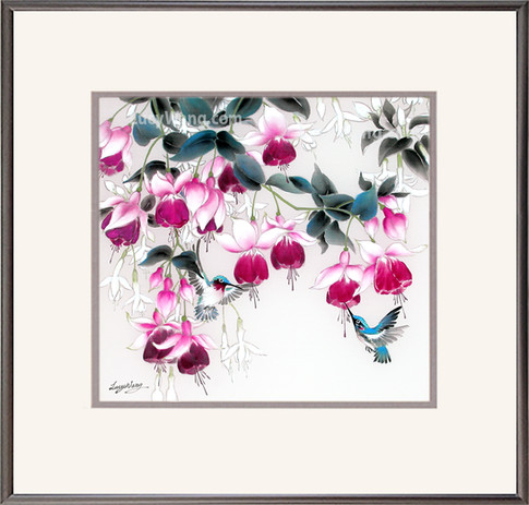 Pink Fuchsia & Hummingbirds