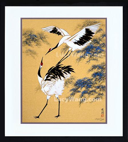 Dancing Cranes & Pine Tree