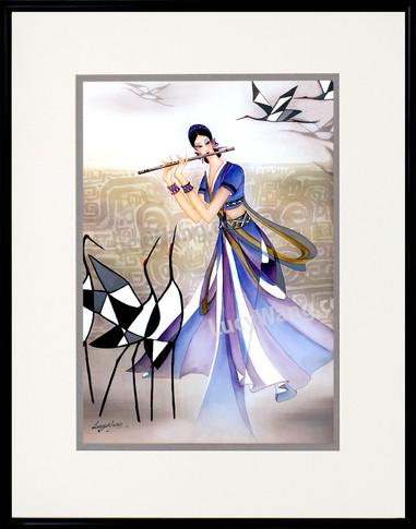 Flutist and Cranes