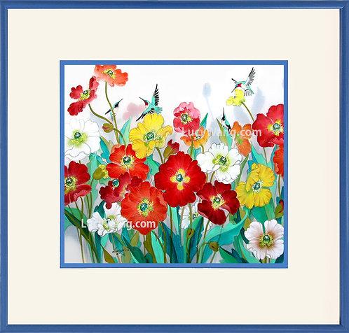 Poppy & Hummingbirds #2