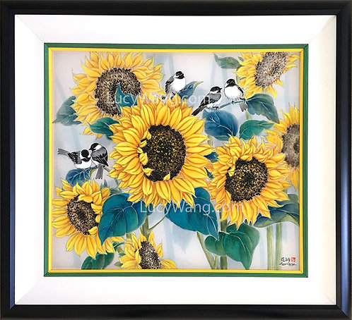 Sunflowers & Chickadees