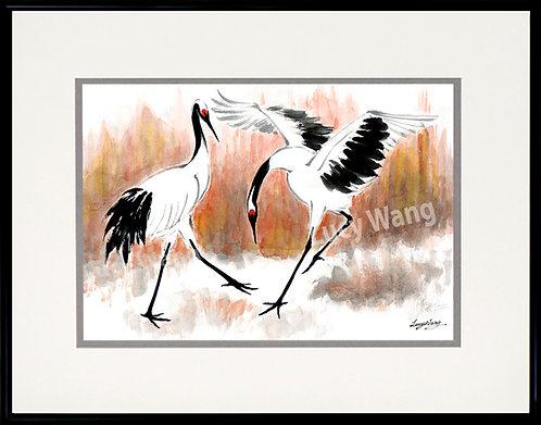 Dancing Cranes in Autumn Field