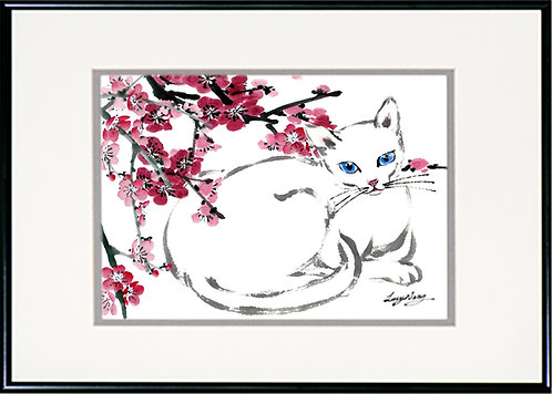 White Cat & Plum Blossoms