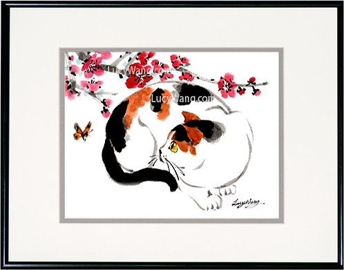 Calico Cat & Plum Blossoms