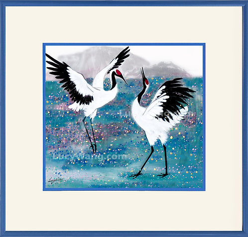 Dancing Cranes on the blue Field