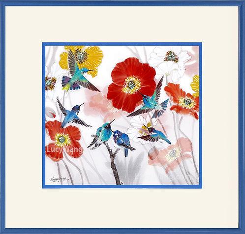 Six Hummingbirds & Poppies