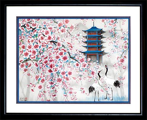 Cherry Blossoms & Cranes