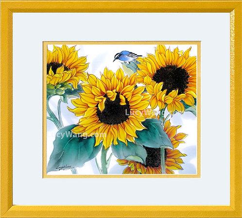 Sunflowers & Bluebird