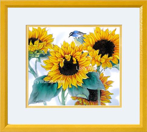 Sunflower & bluebird