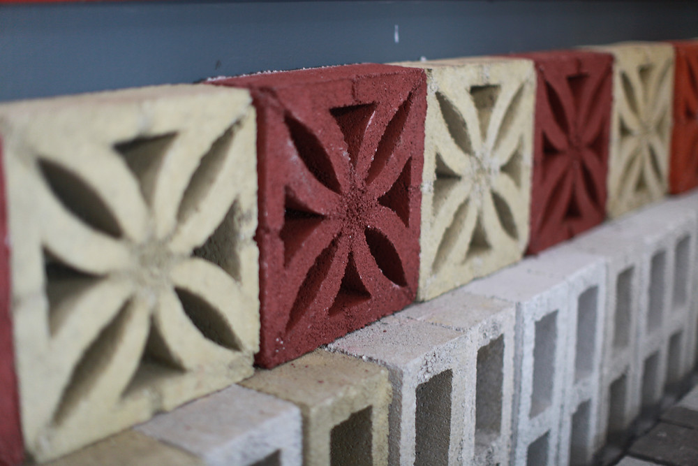 Concrete Decorative breeze blocks with oxide colouring make for a beautiful cement-based brick.