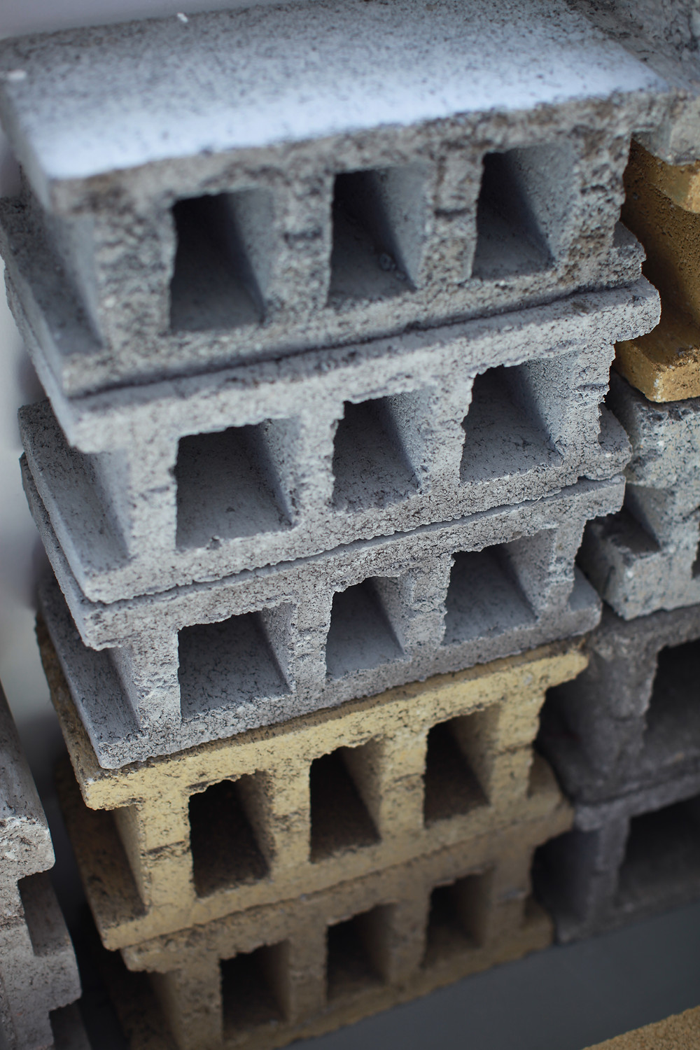 Concrete stretcher blocks made by Doubell block machine