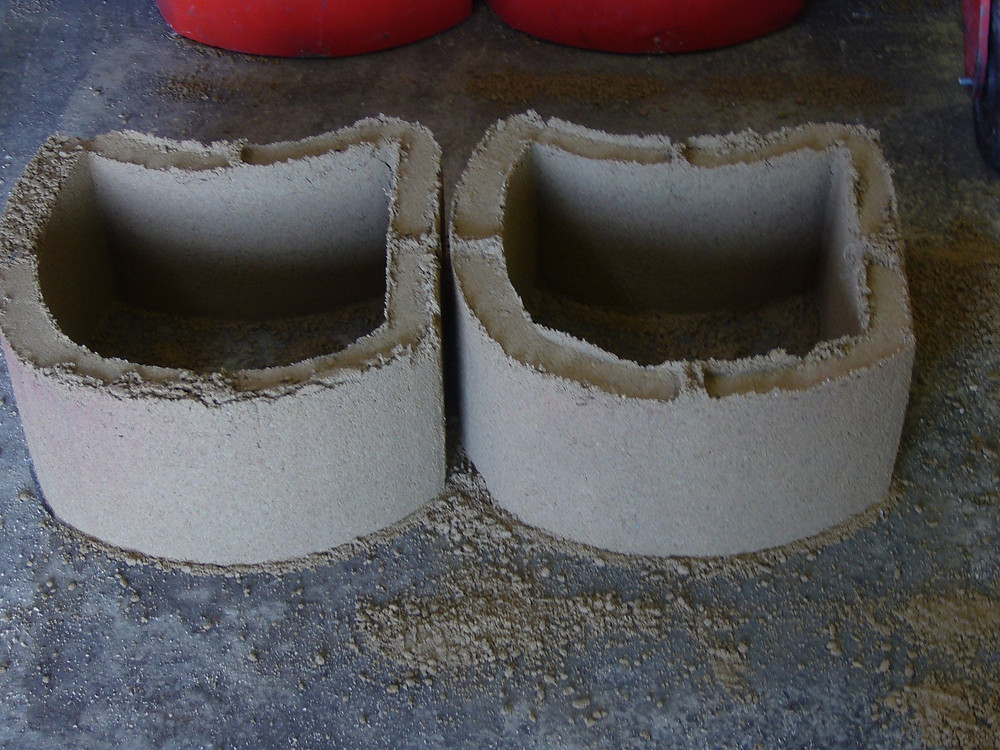 Retaining wall blocks made with a Doubell Jumbo MK3