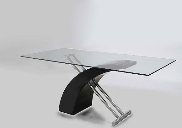Glass Conference Table w Chrome Base