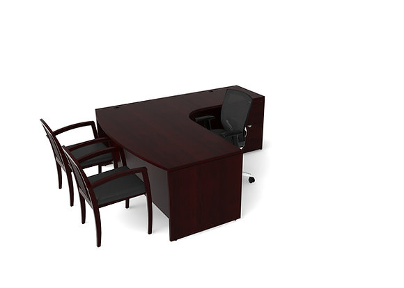 Laminate L-Desk - Mahogany