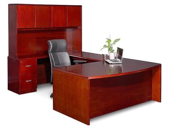Wood U-Shape Desk with Hutch