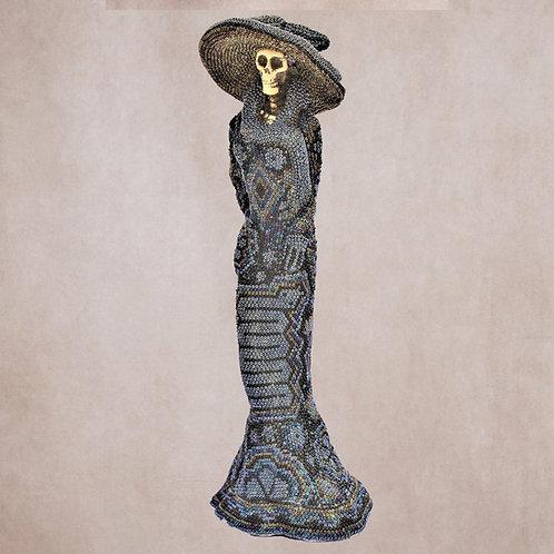 """Huichol Art """" Black Catrina"""""""