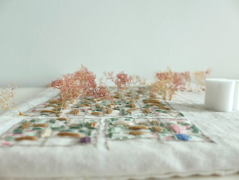 The other embroidery I did after this registration was a plan view in 1:2000 of the housing area on Trongårdsparken. I tried to sew the small-scale houses and their garden. This was more about getting the area under my skin, just at the first map I sewed the big scale. Here I took the chance to experiment with a combination of medias.   I painted the roads with acryl colours and a pen and sewed the houses and vegetation. When I was finished with sewing the expression of the importance of the plane trees were missing in the embroidery. So by putting the fabric on a piece of wood and glue model trees the embroidery turned into a concept model where it got clearer how the plane trees are identity given to the site and are leading into the new housing area (my site).