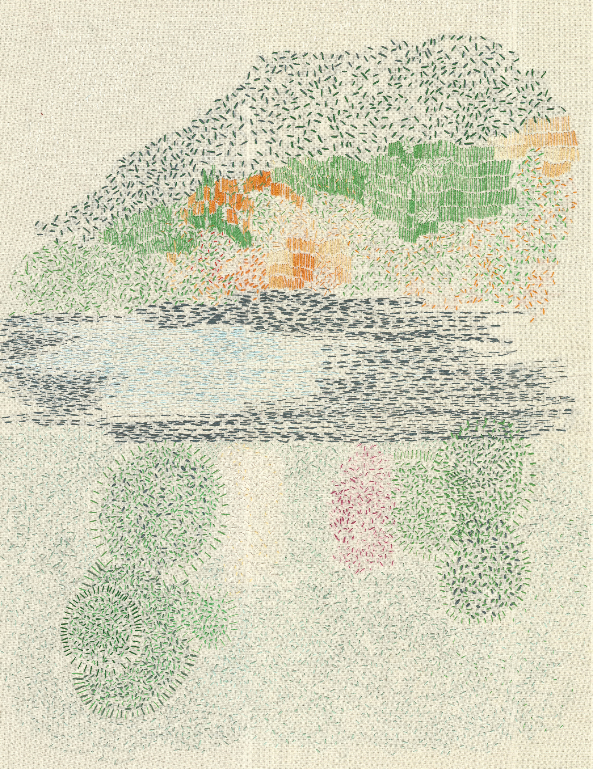 Embriodery to Sonja: My first comission, inspired by a picture of a landscape that ment something to Sonja