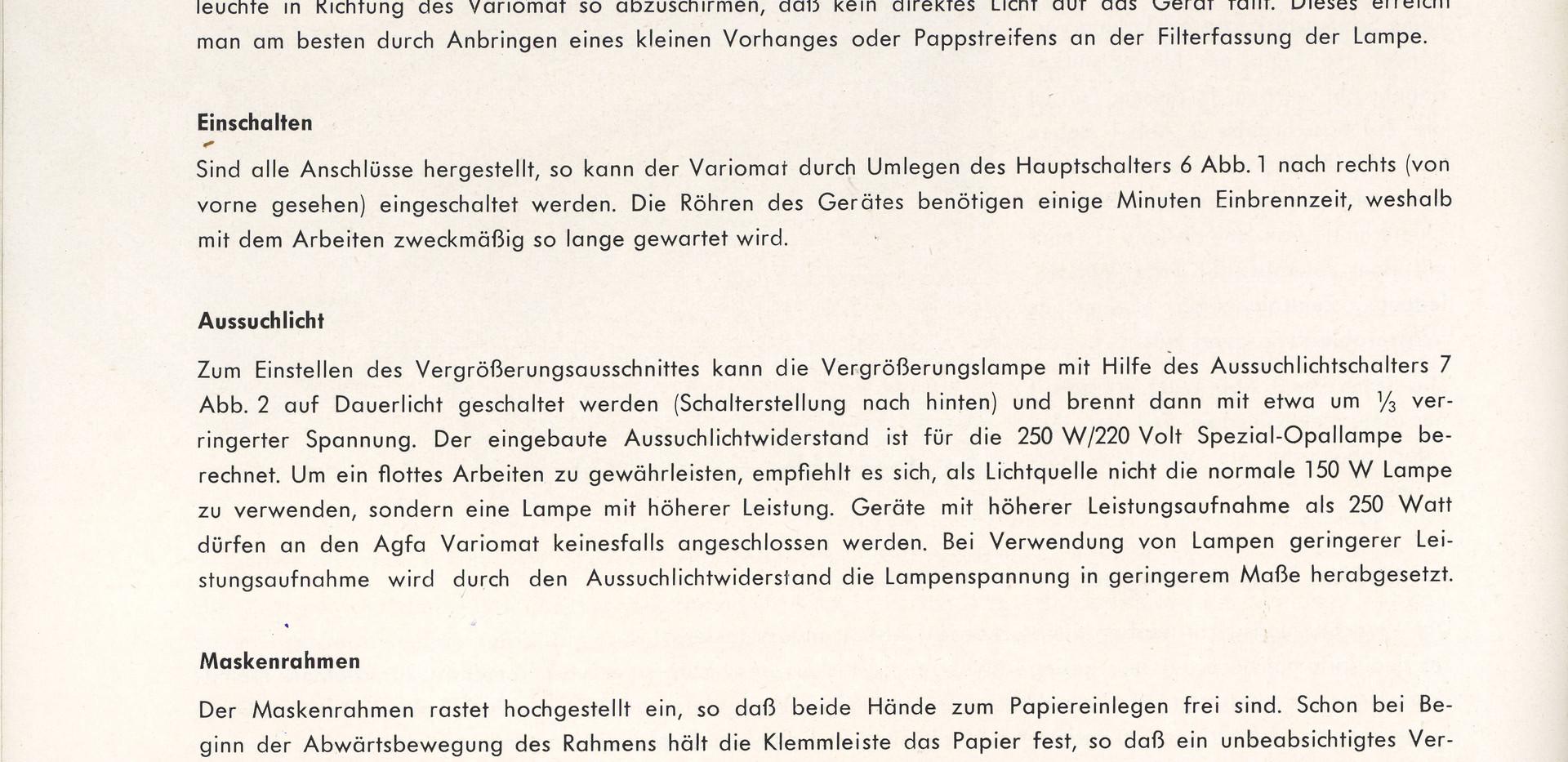 Agfa Beschreibung Variomat Seite 6