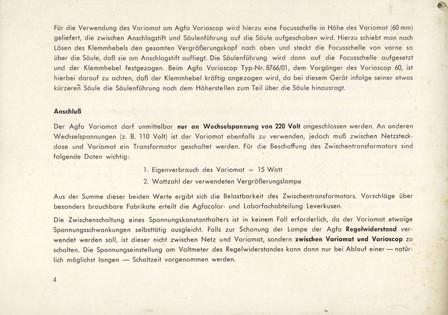 Agfa Beschreibung Variomat Seite 4
