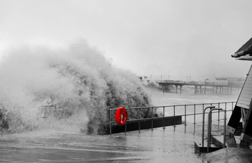 Great storm of 2014 (check out the size of the wave under the pier!)