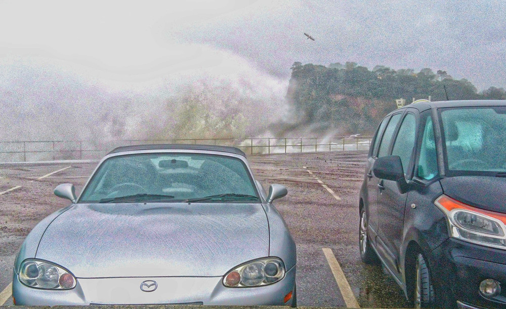 One of today's very soggy photo attempts (and yes, I was cowering behind those cars!)