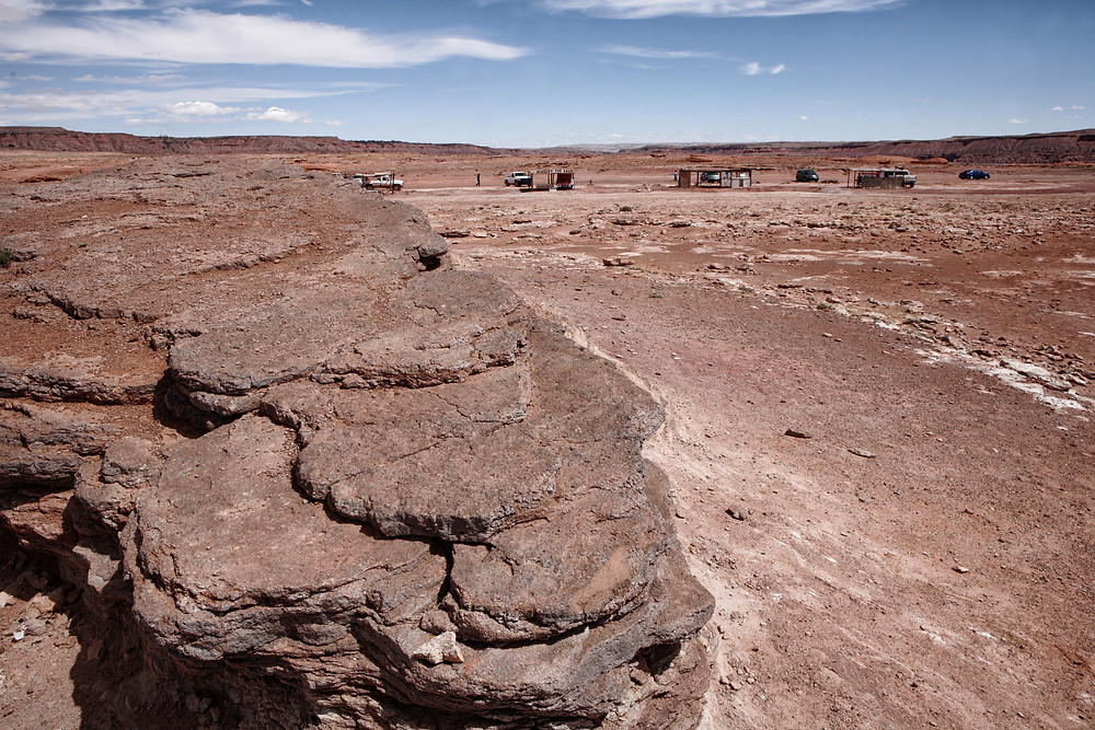 The track site with Navajo jewellery and trinket stall sin the background