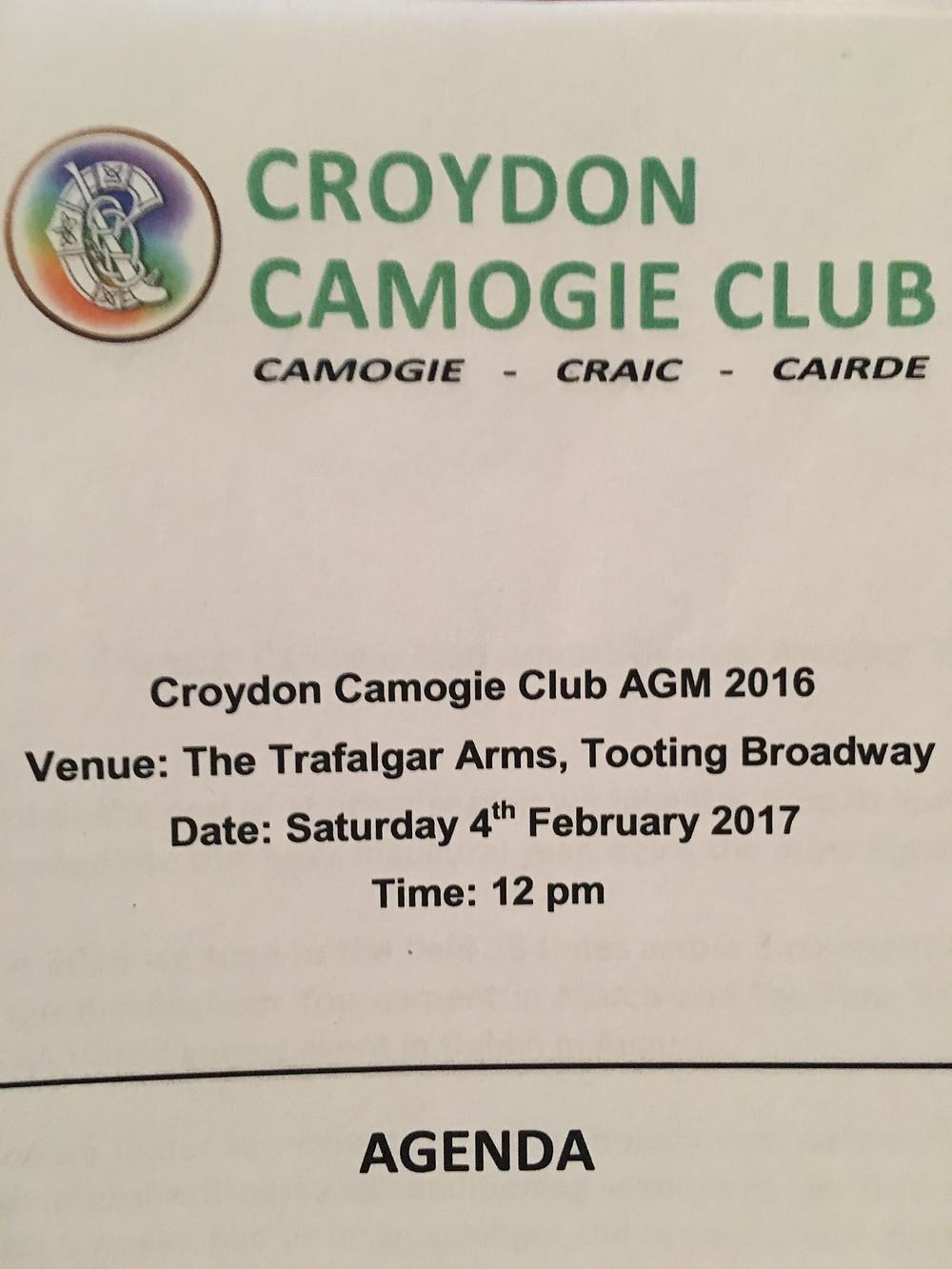 Croydon Camogie AGM