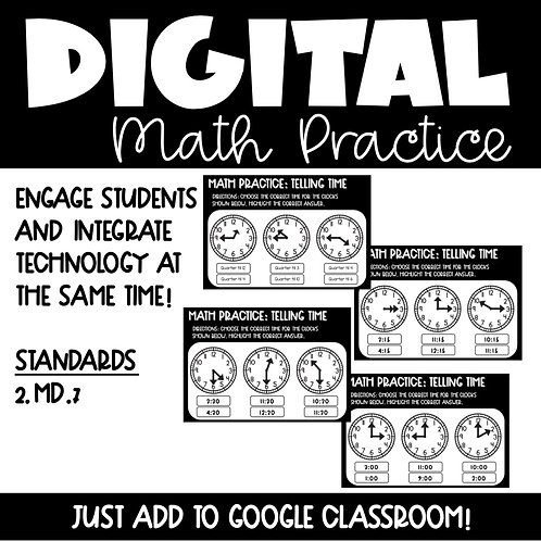 Time Digital Math Practice for 2nd Grade