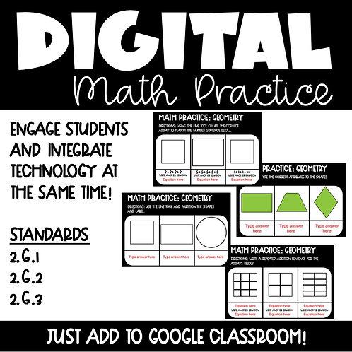 Geometry Digital Math Practice for 2nd Grade