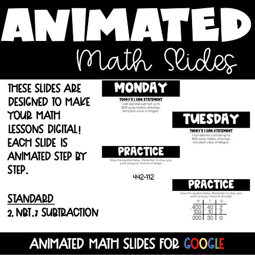 Subtraction Animated Lessons for 2nd Grade