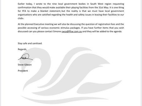 Letter from SWSA 2020